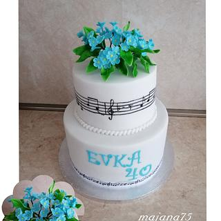 Music cake with flowers