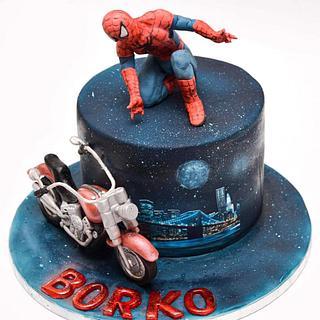 Spiderman and motorbike