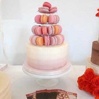 Cake and Macaron Tower Wedding Cake - Cake by Amy's Icing on the Cake