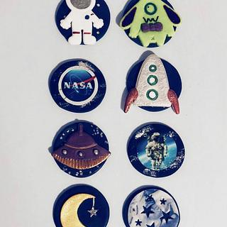 Space Cupcake Toppers - Cake by Sugar by Rachel