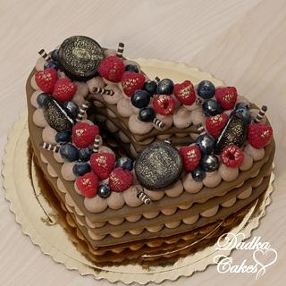 """Heart """"number"""" cake"""