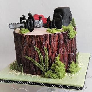 Stump cake with Chainsaw - Cake by Jitkap