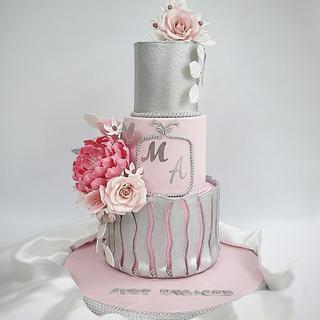 engagment cake  - Cake by Sara_Elbehiery