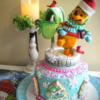 Pooh Bear Christmas Cake - Cake by Bethann Dubey