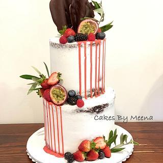 Semi naked red drip cake