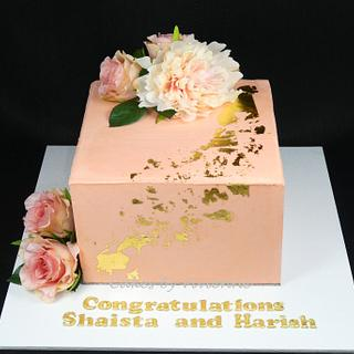Peach and Gold Engagement Cake - Cake by Cakes by Vivienne