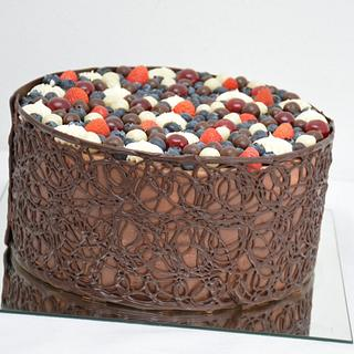 Chocolate cake with chocolate fence