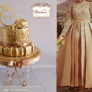 Eengagement gold cake - Cake by mona ghobara/Bonboni Cake