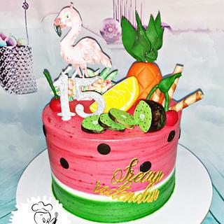 Whipped cream watermelon cake