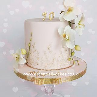 Pastel pink with orchids