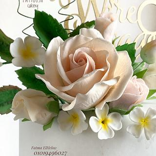 Wedding cake with gum paste roses