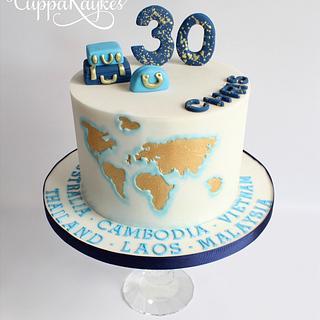 Travel Themed 30th Birthday Cake