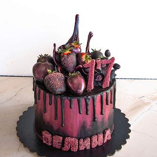 Black and burgundy cake