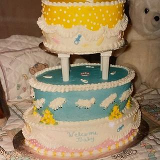 Playful Sheep Baby Shower Cake