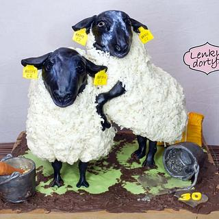 Antigravity cake - Suffolk sheep - palm oil free - Cake by Lenkydorty