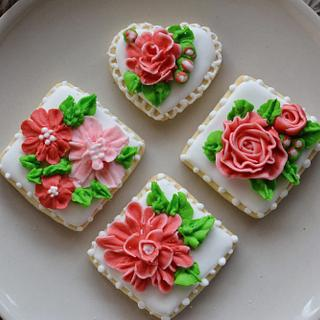 Cookies with royal icing flowers