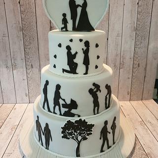 Hochzeitstorte und Geburtstagstorte in einer