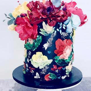 Palette Knife Painted Birthday Cake - Cake by Sugar by Rachel