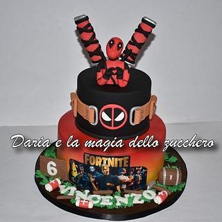 Deadpool Fortnite cake