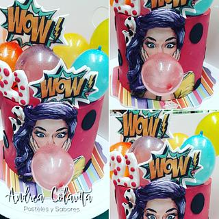 Pin up girl with baloon - Cake by Andrea Colavita