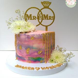 Engagement cake mr&mrs