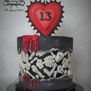 Skeleton fault line birthday cake - Cake by Bonnie Bakes UAE