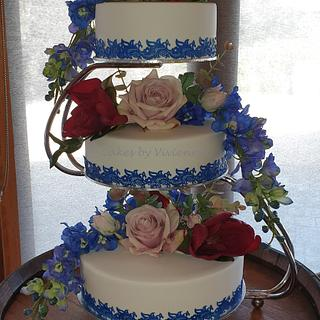 Blue Lace Wedding Cake - Cake by Cakes by Vivienne