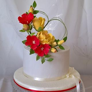 Flowers cake & heart