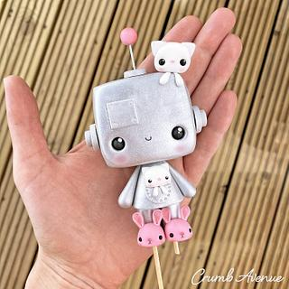 Cute Robot Cake Topper