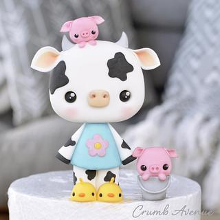 Cute Cow Cake Topper