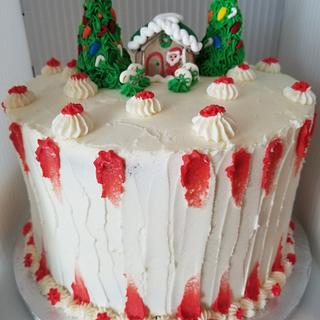 White chocolate peppermint Christmas cake