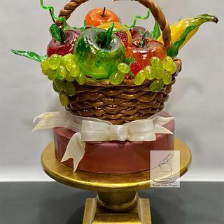 Isomalt Fruit Basket - Cake by Artistic Cake Designs