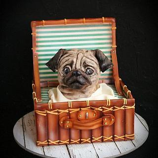 Мопс  в чемодане  - Cake by Екатерина Андриянова