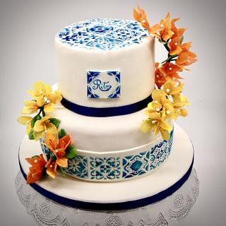 Cake with bouganville flowers  - Cake by Arianna