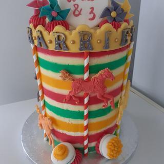 Wild and 3 carousel cake