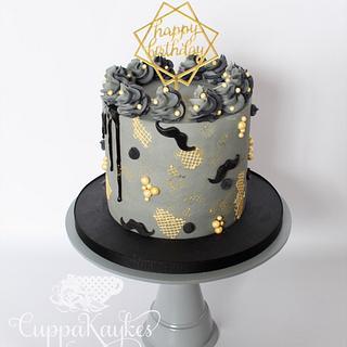 Textured Grey Buttercream Drip Cake