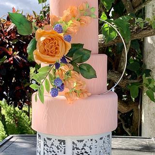 Peach floral hoop