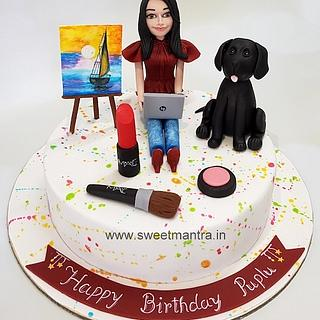 Painting and Makeup theme customised cake for girlfriends birthday