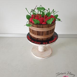 Bucket of cherries cake.