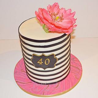 Elegant Stripe Cake with Sugar Poppy!