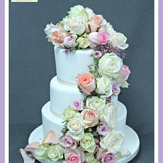 Traditional Wedding Cake with floral cascade
