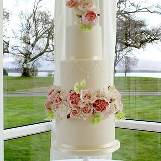 Blush Spring Wildflower Wedding Cake