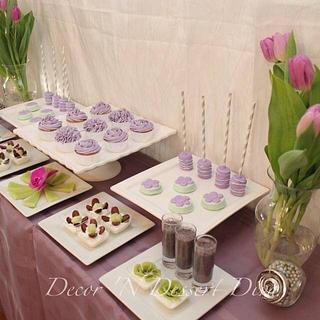 Purple Green Dessert Table