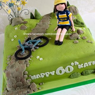 60th Leeds Rhinos and cycling fan - Cake by Zoe's Fancy Cakes
