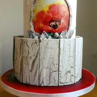 Red and white wedding cake - Cake by TinkaCakes
