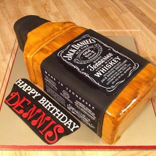 Jack Daniel's Whiskey Bottle Birthday Cake - Cake by The Ruffled Crumb