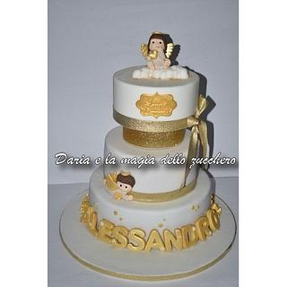 Angels christening cake