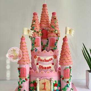 pink castle theme cake