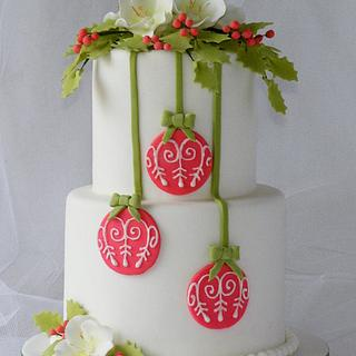 Red Baubles Christmas Cake
