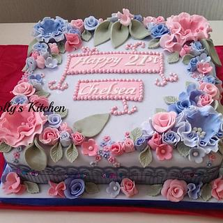 Pink and blue floral 21st birthday cake